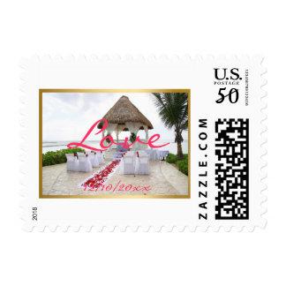 Gazebo On The Beach Wedding Stamp