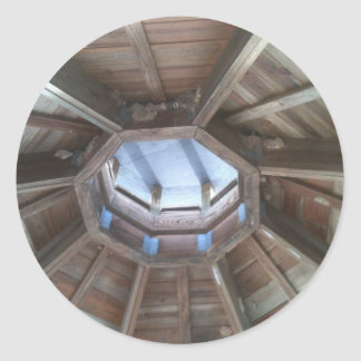 Gazebo roof: bird nest near hornets nests classic round sticker
