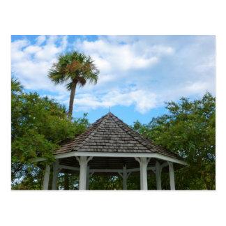 Gazebo sky palm trees ft pierce florida postcard