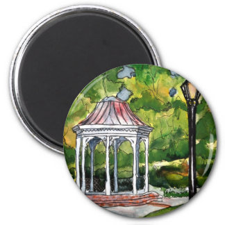 gazebo watercolor painting garden nature 2 inch round magnet