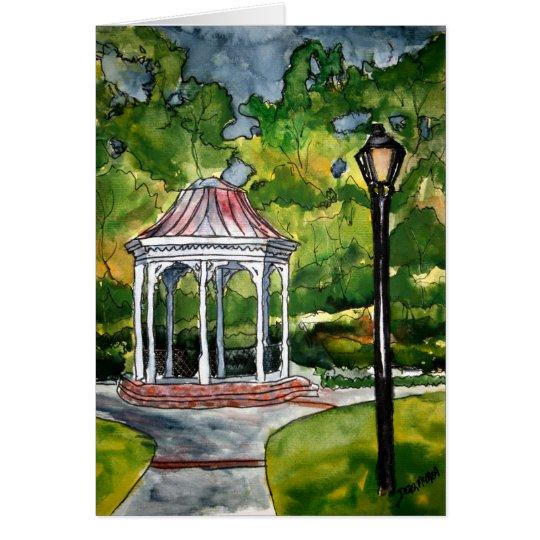 gazebo watercolor painting garden nature card