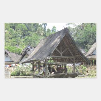 gazeebo de bambú viejo pegatina rectangular