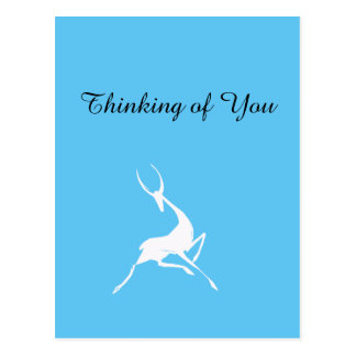 Gazelle blanco dibujado mano juguetónamente tarjetas postales