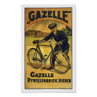 Gazelle Cycles Fine  Vintage Bicycle Poster