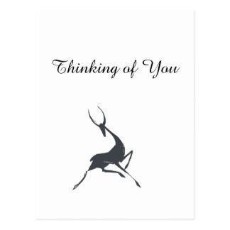 Gazelle gris dibujado mano juguetónamente elegante tarjetas postales