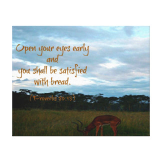 Gazelle with Proverbs Bible verse Open your eyes Canvas Print