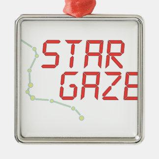 Gazer de la estrella adorno navideño cuadrado de metal