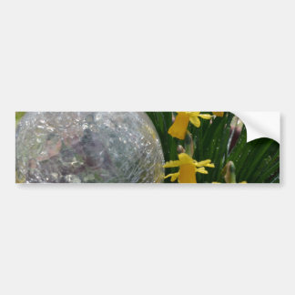 Gazing Ball and Daffodils after a rain Bumper Sticker