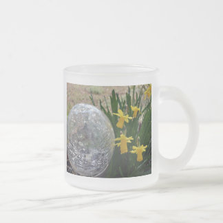 Gazing Ball and Daffodils after a rain Frosted Glass Coffee Mug