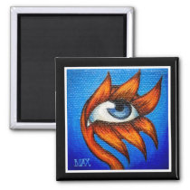 Gazing Flower Painting - Orange and Blue Magnet