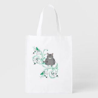 Gazing Grey Kitty With Leafy Scrollwork Flourishes Reusable Grocery Bag