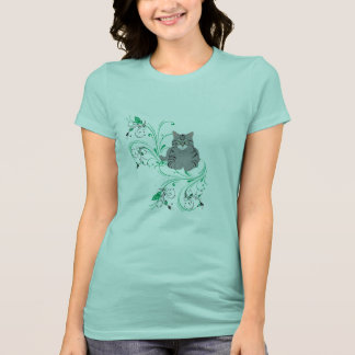 Gazing Grey Kitty With Leafy Scrollwork Flourishes T-Shirt