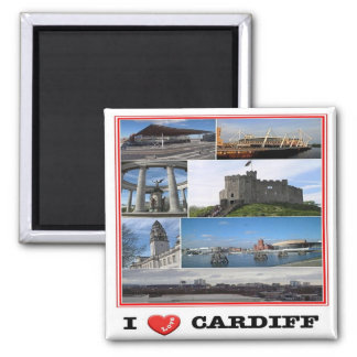 GB - Welsh - Cardiff - I Love - Collage Mosaic Magnet