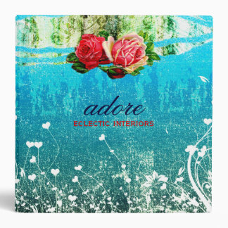 GC Adore in Roses Vintage Turquoise Blue 3 Ring Binder