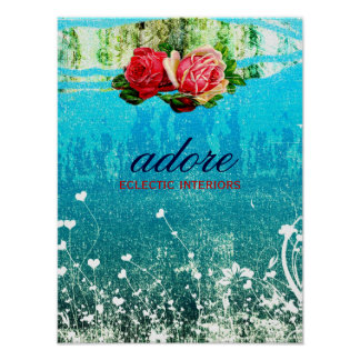 GC Adore in Roses Vintage Turquoise Blue Poster