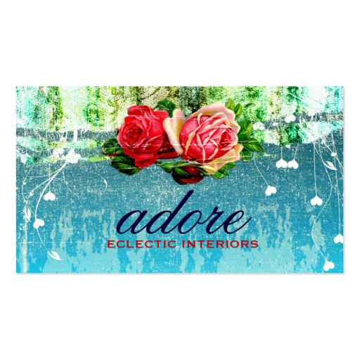 GC Adore in Roses Vintage Turquoise Business Cards