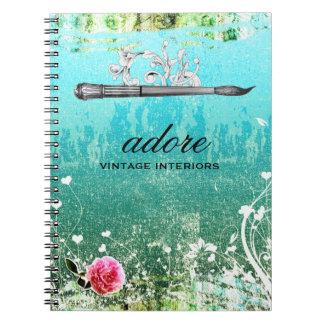 GC Adore Vintage Blue Paintbrush Spiral Notebook