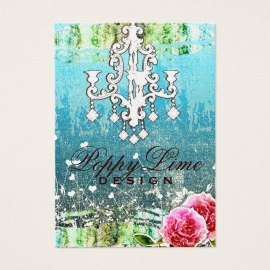GC Adore Vintage Crystals Turquoise Metallic Business Card