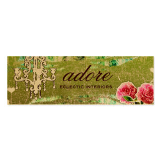 GC Adore Vintage Lime Tag Gold Metallic Double-Sided Mini Business Cards (Pack Of 20)