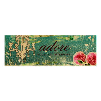 GC | Adore | Vintage Turquoise Gold Metallic Double-Sided Mini Business Cards (Pack Of 20)