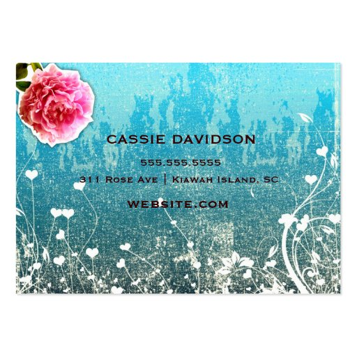 GC Adore Vintage Turquoise Gold Metallic Business Card Templates (back side)