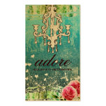 GC Adore Vintage Turquoise Gold Metallic Double-Sided Standard Business Cards (Pack Of 100)