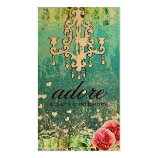 GC Adore Vintage Turquoise Metallic Gold Double-Sided Standard Business Cards (Pack Of 100)
