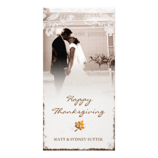 GC | Aged Thanksgiving Newlywed Photo Card