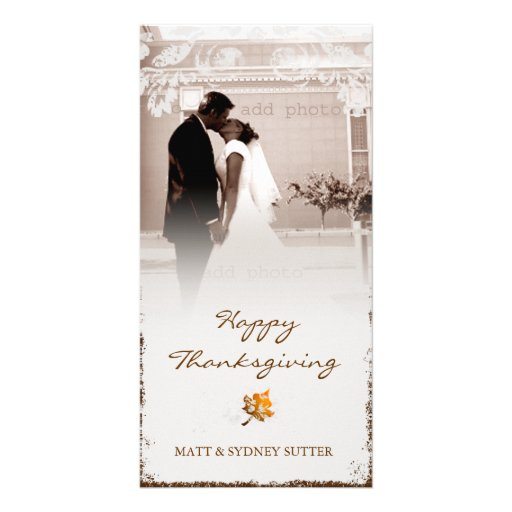 GC   Aged Thanksgiving Newlywed Photo Card