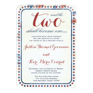 GC All American Red White Blue Wedding Ivitation 5x7 Paper Invitation Card