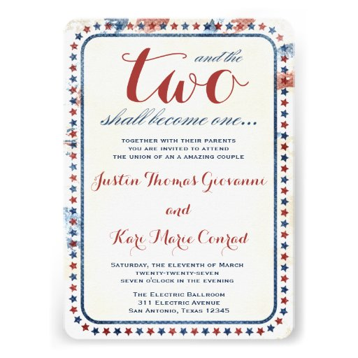 GC All American Red White Blue Wedding Ivitation Custom Announcement