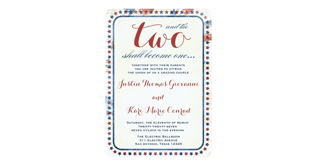 Red White And Blue Wedding Invitations: GC All American Red White Blue Wedding Ivitation