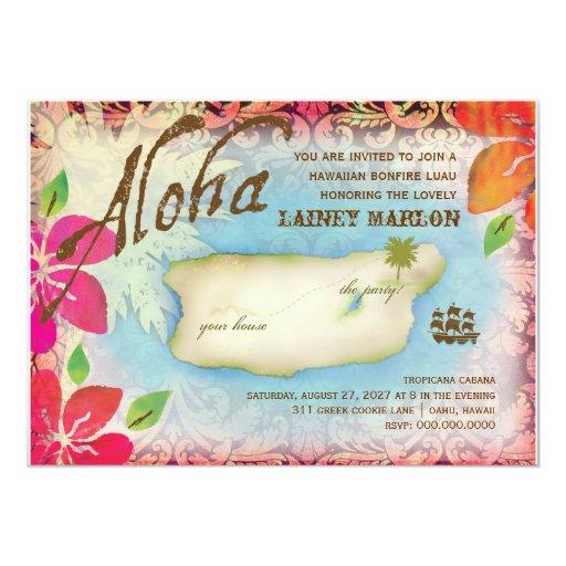 Gc | Aloha Luau Island 5x7 Paper Invitation Card