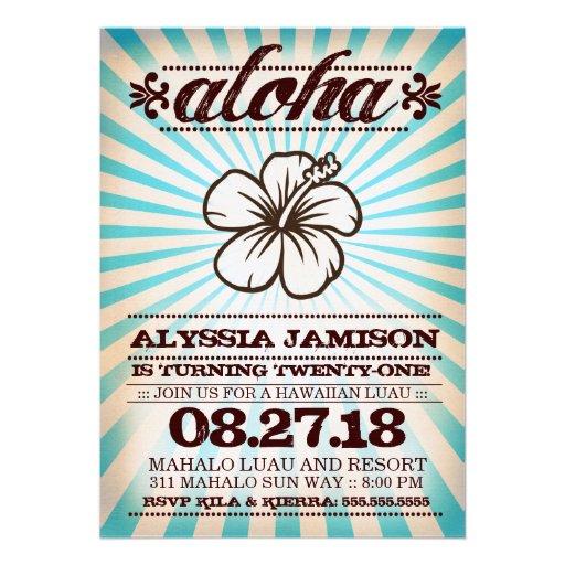 GC Aloha Sunset Aqua Blue Birthday Invitations