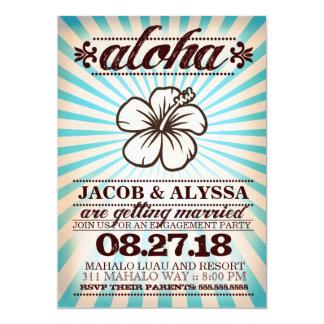 GC Aloha Sunset Aqua Blue Engagement Card
