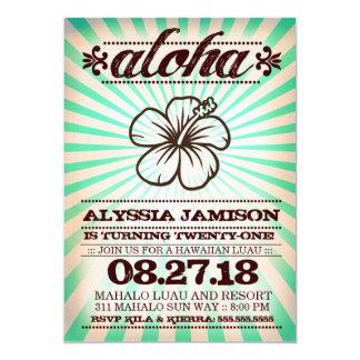 GC Aloha Sunset Aqua Seaweed Birthday 5x7 Paper Invitation Card