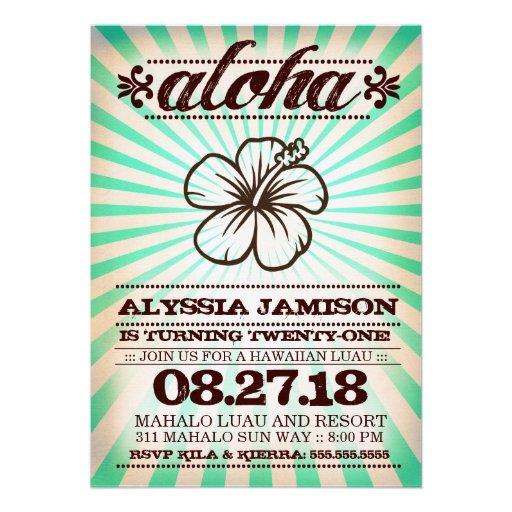 GC Aloha Sunset Aqua Seaweed Birthday Invitations