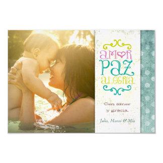 GC | Amor Paz Alegría Grungy Linen Aqua Custom Announcement