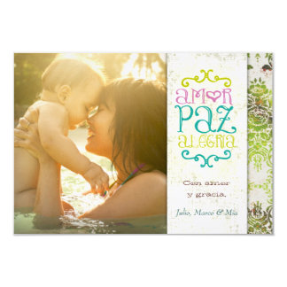 GC | Amor Paz Alegría Grungy Linen Green Personalized Invite