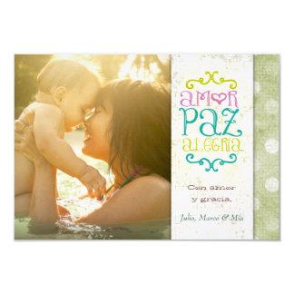 GC | Amor Paz Alegría Grungy Linen Vert Card