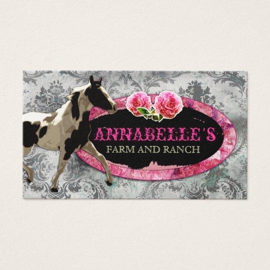 "GC   ""AnnaBelles"" Horse Ranch Black   Vintage Grey Business Card"