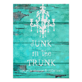 GC Aqua Vintage Wood Chandelier Poster