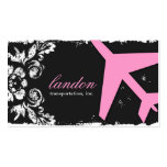 GC | AVIATION TAKE OFF Charcoal Damask Business Cards