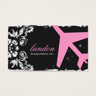 GC   AVIATION TAKE OFF Charcoal Damask Business Card
