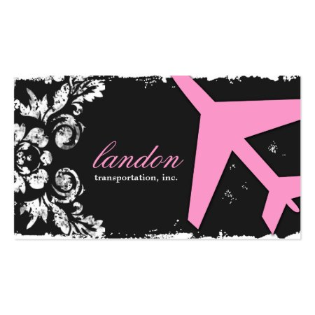 Black Charcoal Pink and White Damask Airplane Silhouette Aviatrix Feminine Girl Pilot Aviation Business Cards