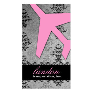 GC | AVIATION TAKE OFF Gray Damask Business Cards