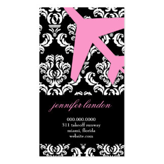 GC | AVIATION TAKE OFF Pink Damask Business Cards