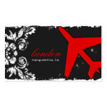 GC AVIATION TAKE OFF Red Charcoal Damask Business Cards