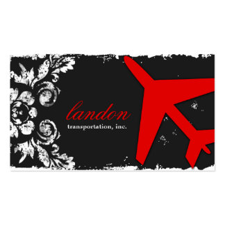 GC AVIATION TAKE OFF Red Charcoal Damask Double-Sided Standard Business Cards (Pack Of 100)