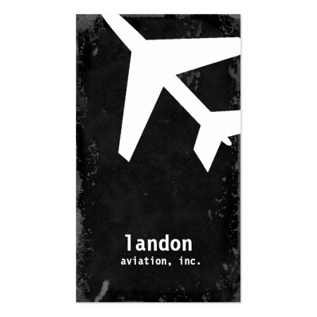 Black Grunge Custom Color Plane Aviation Business Cards
